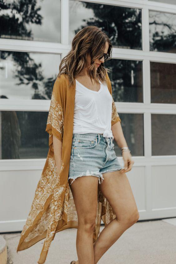 Ideas de outfits con kimono y short