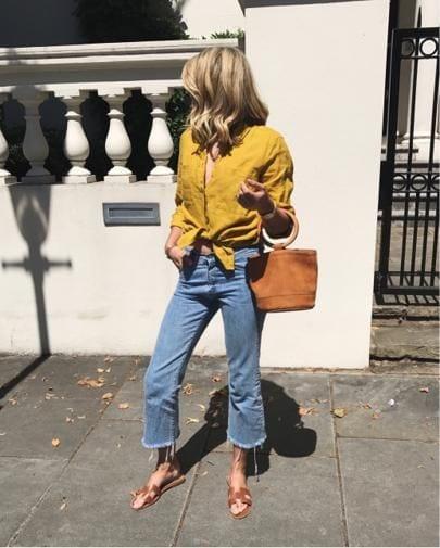 Ideas de outfits con sandalias planas y jeans