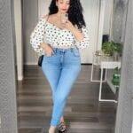 Jeans de tiro alto para mujeres con curvas