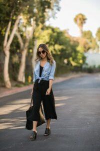Looks con culottes en color negro para primavera