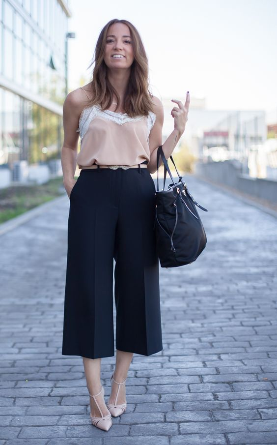 Looks para el trabajo con culottes