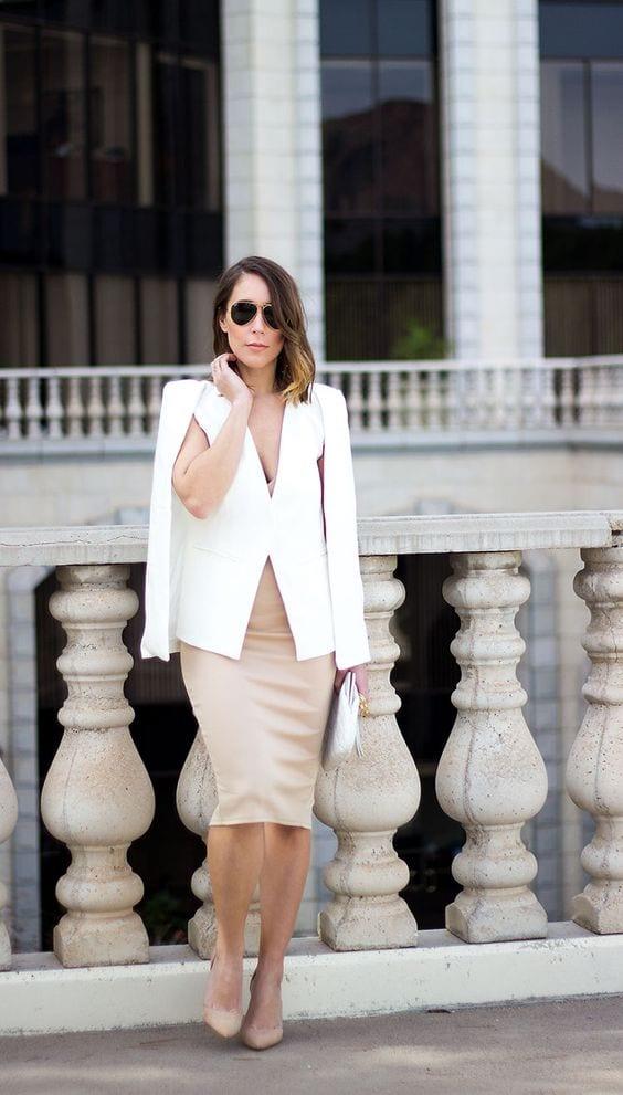 Outfits con blazer capa y vestido