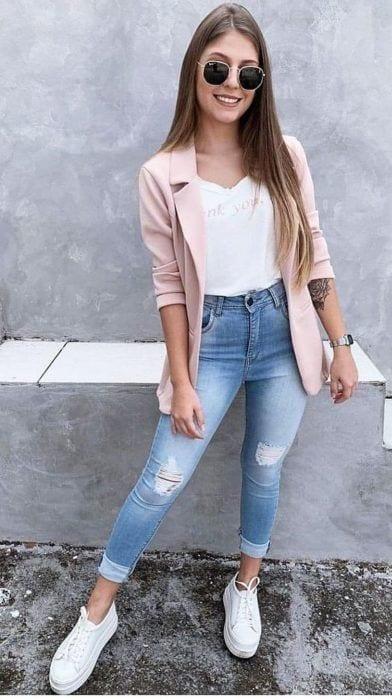 Outfits con blazer en colores pastel
