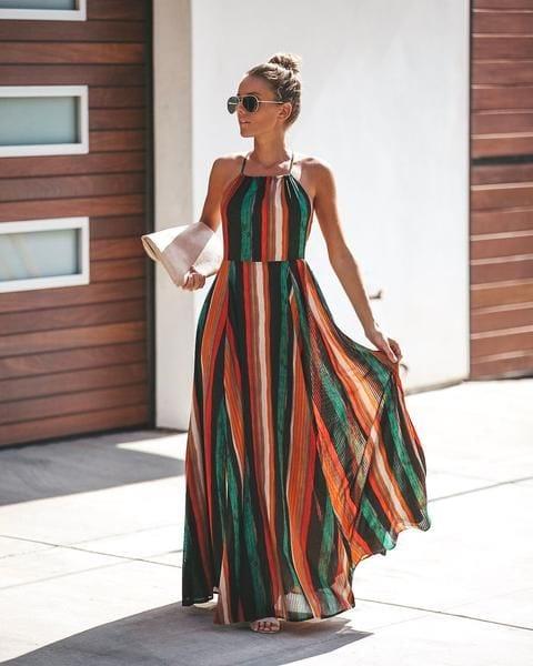 Outfits con maxi vestidos a rayas