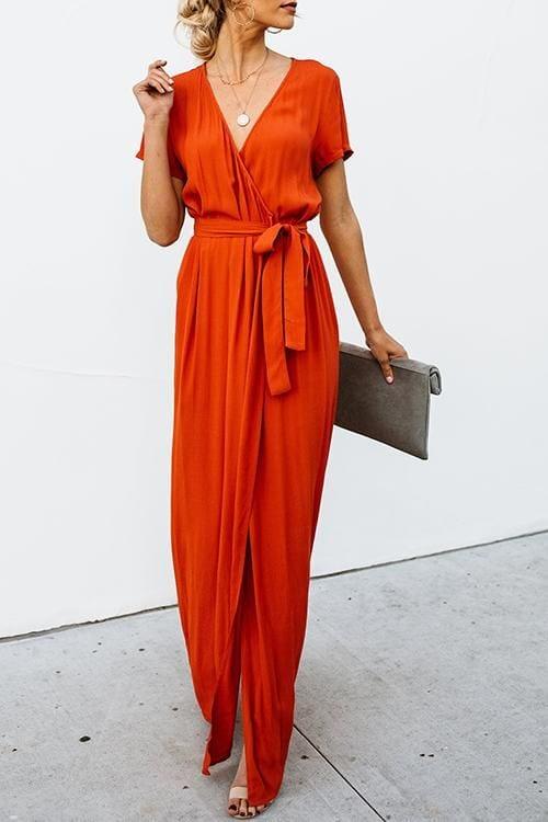 Outfits con maxi vestidos estilo wrap