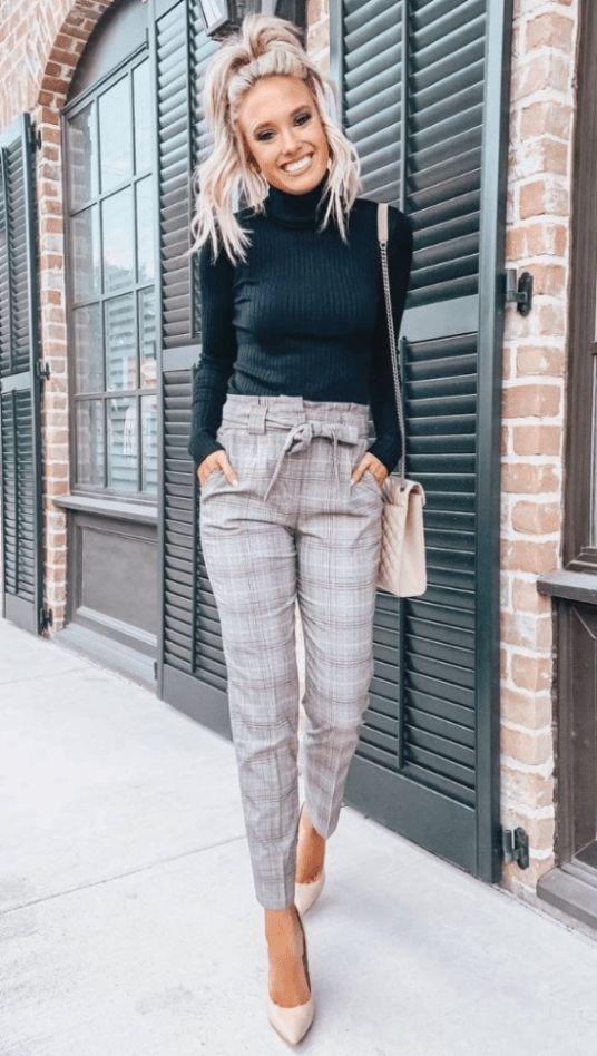 Outfits con pantalones a cuadros para oficina