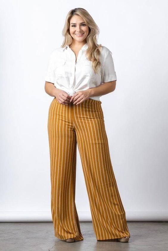 Outfits con pantalones tipo palazzo