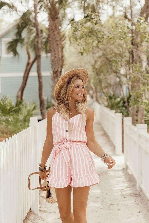 Outfits con romper a rayas primavera - verano