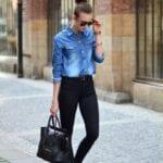 Pantalones negros con camisa de mezclilla