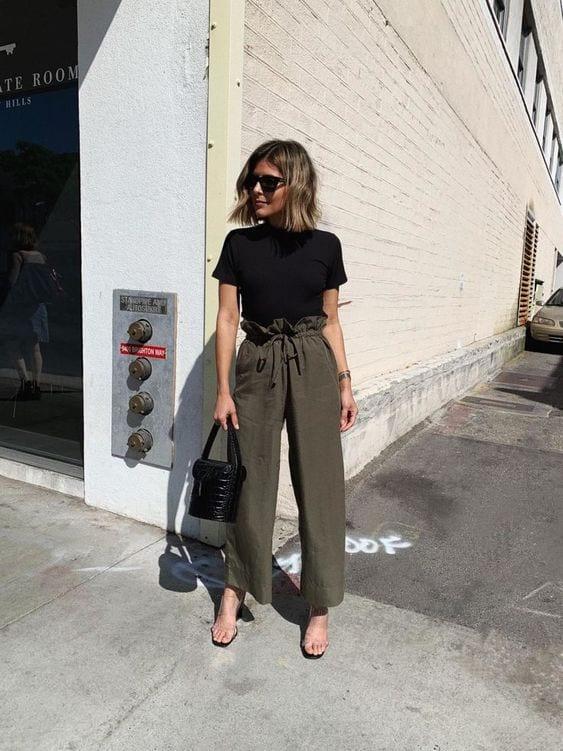 Pantalones paper bag color verde