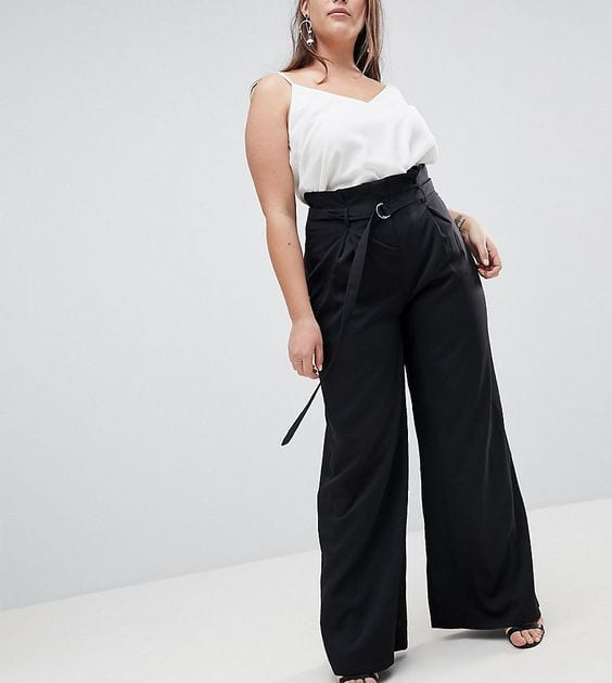 Pantalones paper bag negros para mujeres maduras