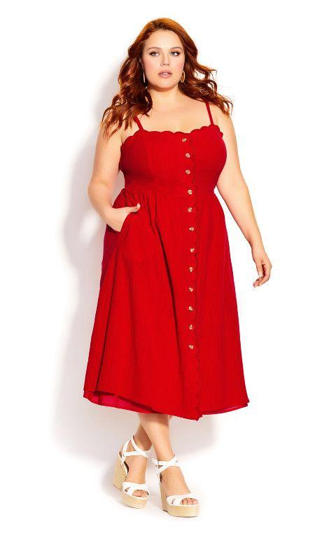 Vestidos rojos de moda para mujeres con curvas