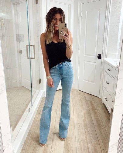 Looks casuales con jeans acampanados