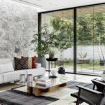 Distribución de la sala de estar con jardín lateral