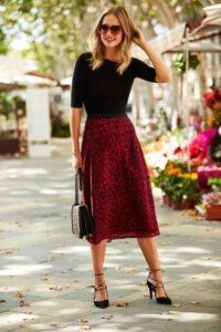 Faldas con estampado rojo de leopardo