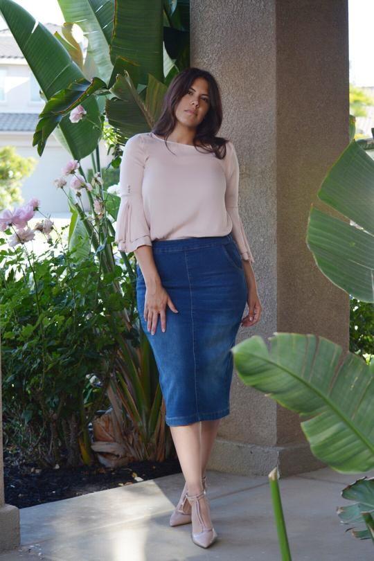 Faldas lápiz de mezclilla para mujeres plus size