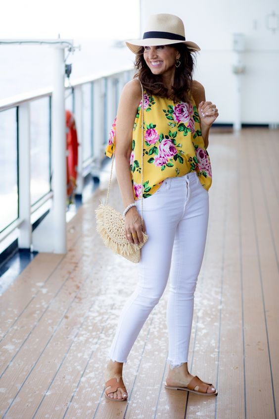 Outfits con jeans blancos casuales