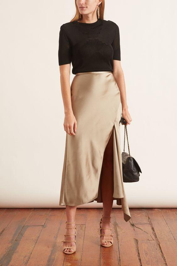 Ideas de outfits con faldas de satín