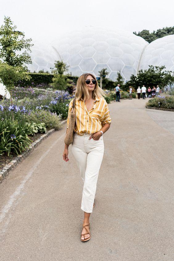 Ideas de outfits con jeans rectos blancos