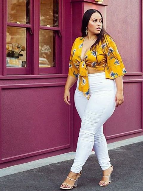 Lindos outfits con jeans blancos plus size