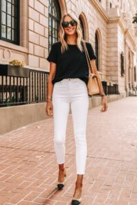 Looks casuales con jeans blancos