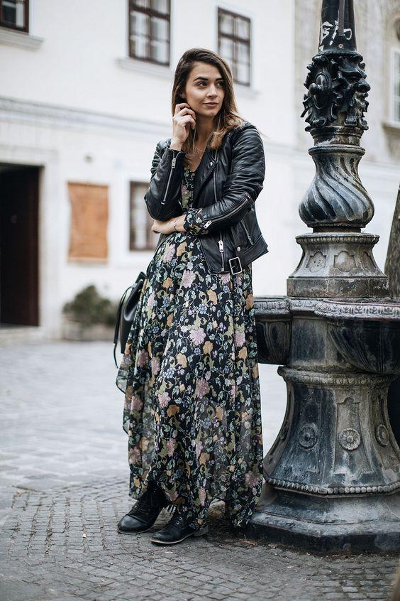Looks con chamarra de cuero y maxi vestido