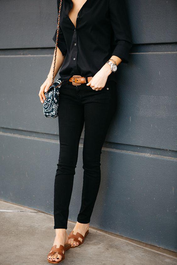 Looks con skinny jeans negros