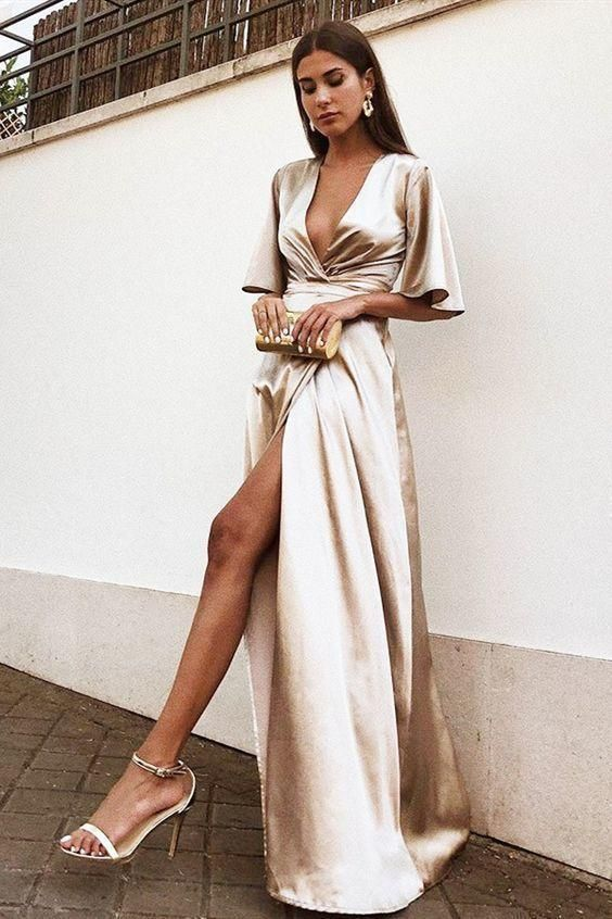 Looks con vestidos de satín