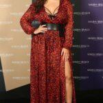 Looks para mujeres plus size con estampado rojo de leopardo