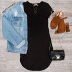 Outfits con chamarra de mezclilla y vestido negro