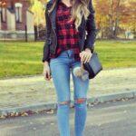 Outfits con chamarras de vinipiel y camisa de leñador