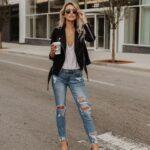 Outfits de jeans y chamarra de cuero