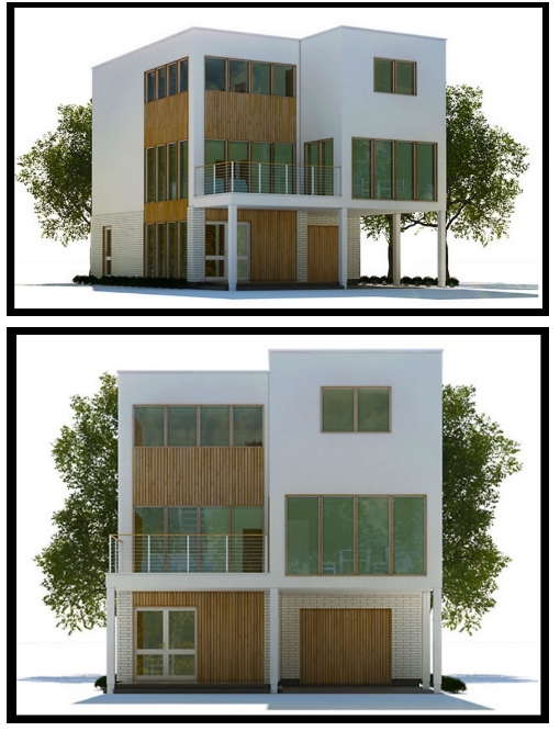 House plan with 3 floors and 210 meters