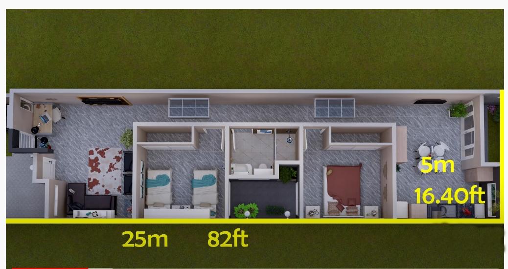House plan of 5x25 meters