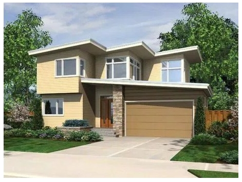 Two story house plan with uneven finishes