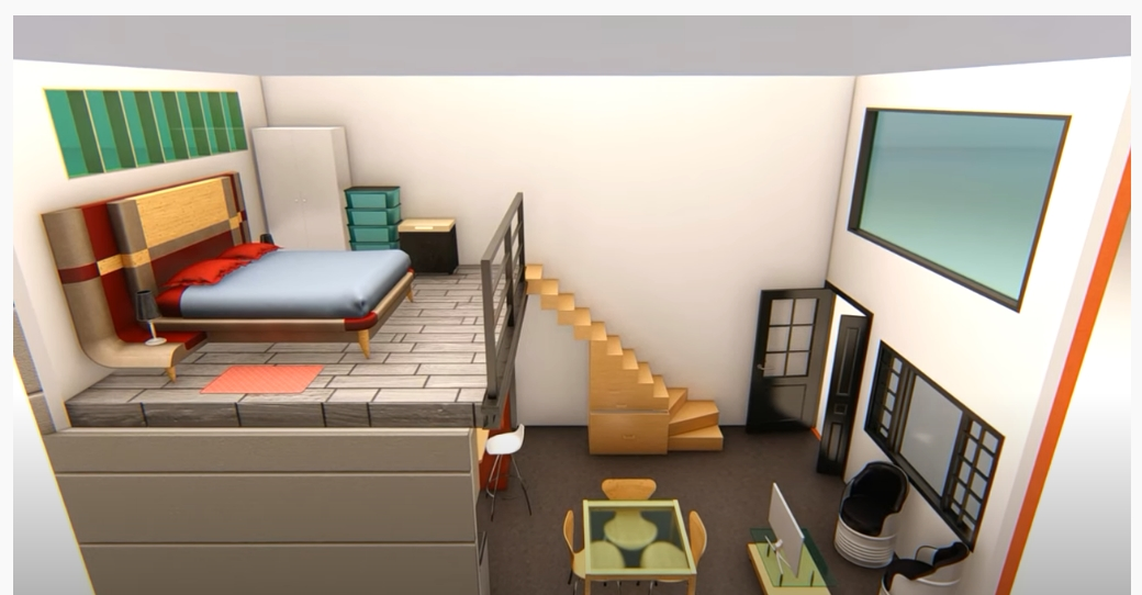 Plan of Modern Loft 4x7 meters Modern Loft 4x7