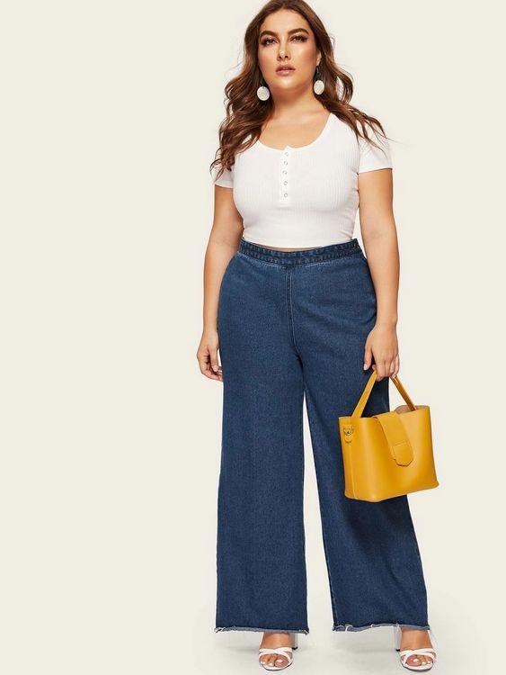 Outfits con jeans rectos plus size