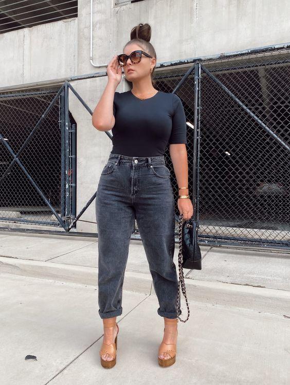 Usa jeans de tiro alto