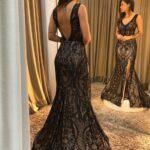 Vestido negro de fiesta para mujeres de 40
