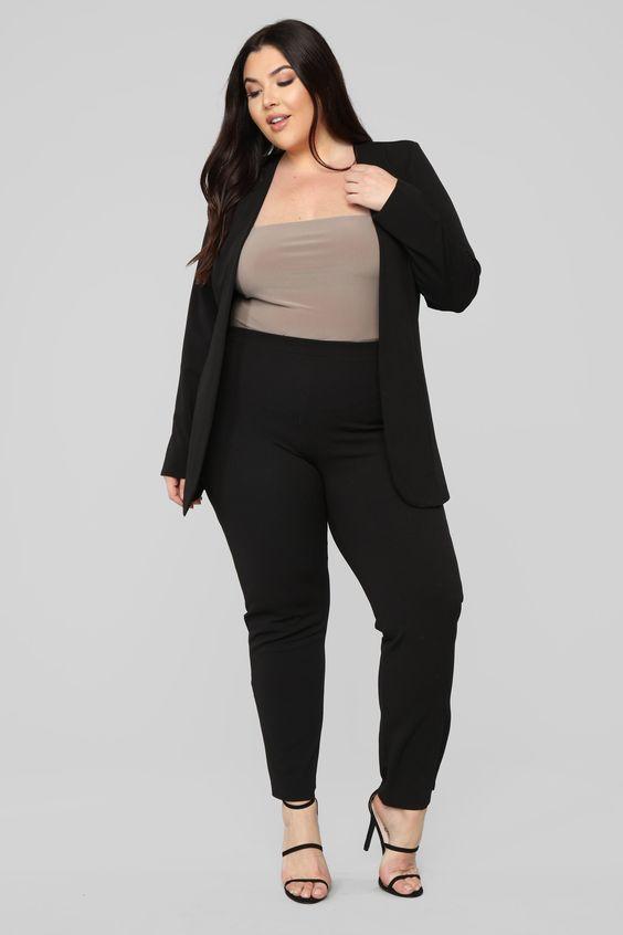 Ideas de outfits con blazer plus size