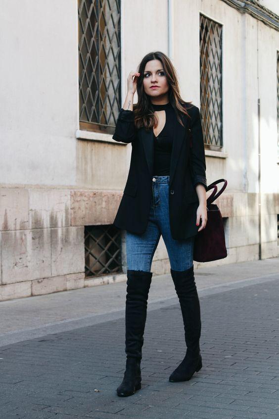 Looks casuales, con blazer jeans y botas