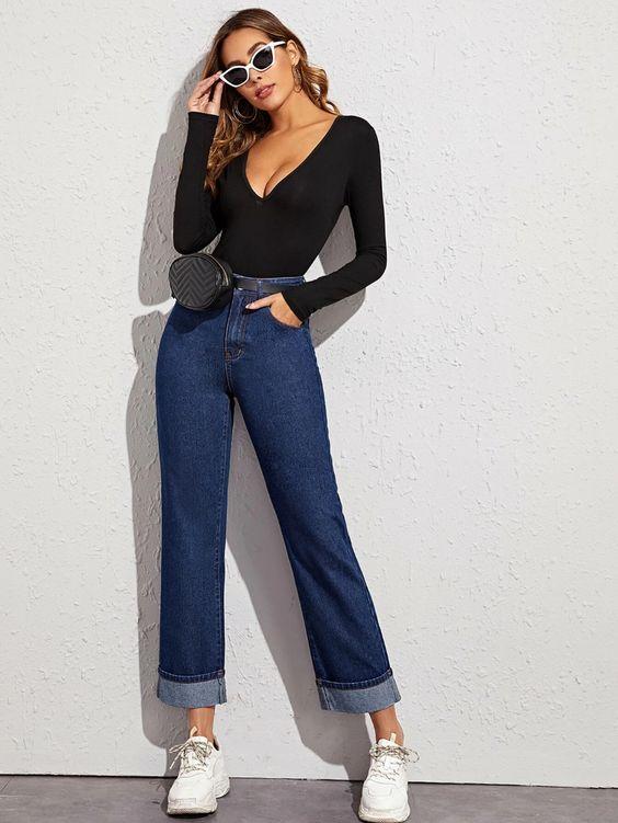 Pantalones de pierna recta shein