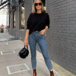 Combina skinny jeans con botines