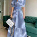 Ideas de outfit con vestido camisero rayas