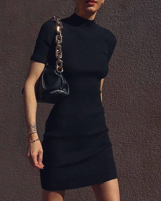 Ideas de outfits con mini vestido negro