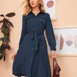 Looks con vestido camisero azul marino