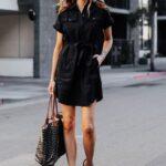 Looks con vestido camisero negro
