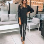 Looks de leggins de cuero con flats