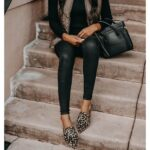 Outfits con leggins de cuero casuales para el trabajo