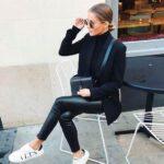Outfits con leggins de cuero para el trabajo